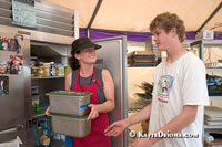 "Lynn Vear and her son Carson Schultz help out in the kitchen at Emergency Communities' ""Made with Love Cafe"" in St. Bernard Parish near New Orleans."